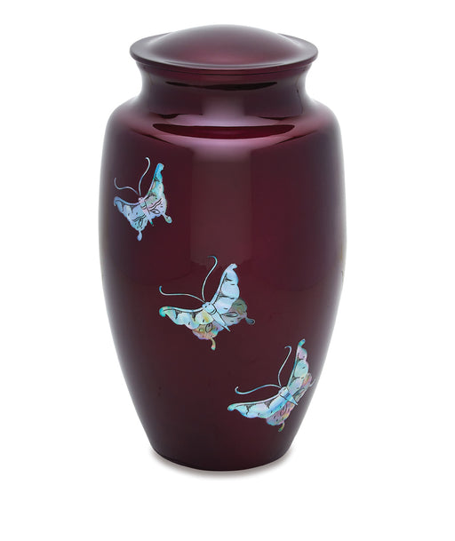 Purple Butterfly with Mother of Pearl Inlay Adult 200 cu in Cremation Urn-Cremation Urns-Bogati-Afterlife Essentials