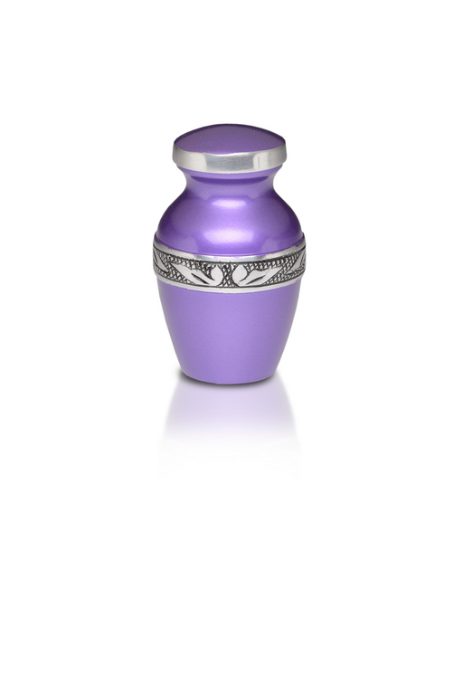 Affordable Alloy Cremation Urn in Beautiful Purple – Keepsake-Cremation Urns-Bogati-Afterlife Essentials