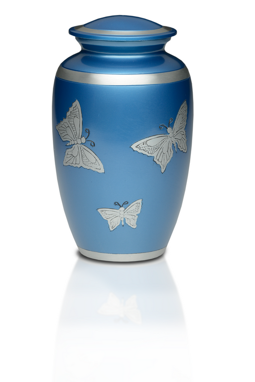 Alloy in Blue with Butterflies Adult 220 cu in Cremation Urn-Cremation Urns-Bogati-Afterlife Essentials