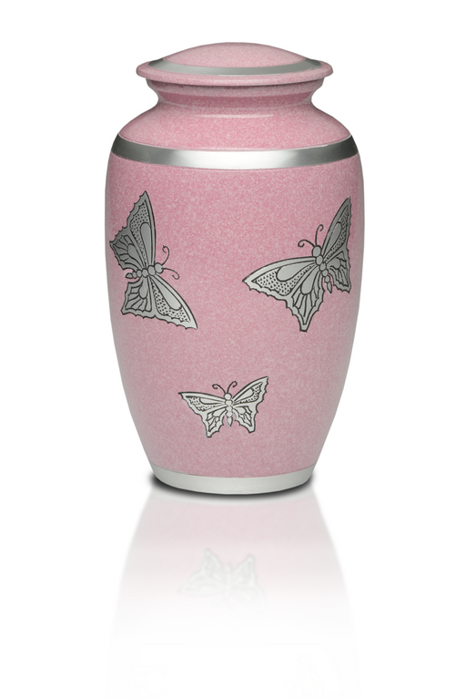 Alloy in Pink with Silver Butterflies Adult 200 cu in Cremation Urn-Cremation Urns-Bogati-Afterlife Essentials