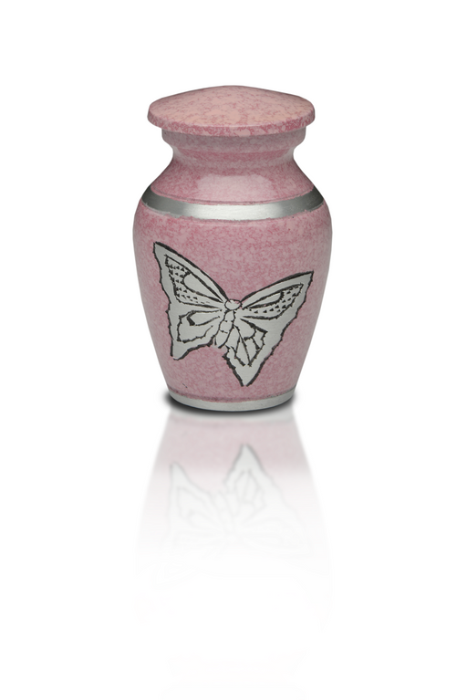 Alloy Cremation Urn in Pink with Silver Butterflies-Cremation Urns-Bogati-Afterlife Essentials