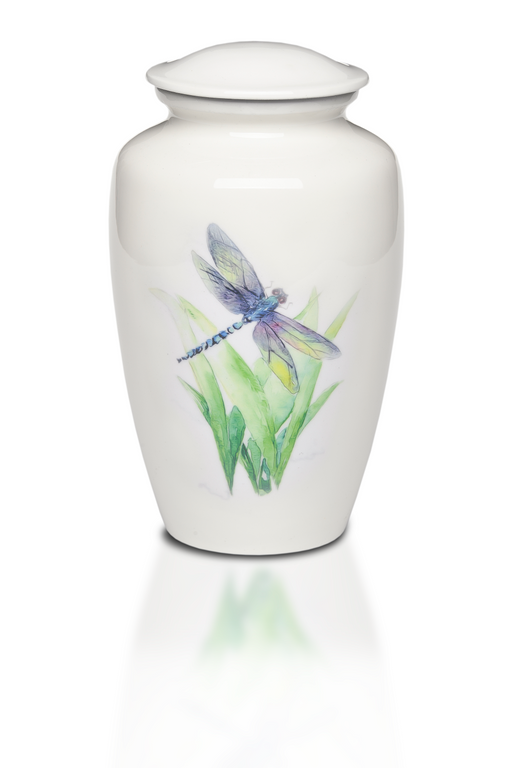 Alloy in White with Dragonfly Design Adult 220 cu in Cremation Urn-Cremation Urns-Bogati-Afterlife Essentials