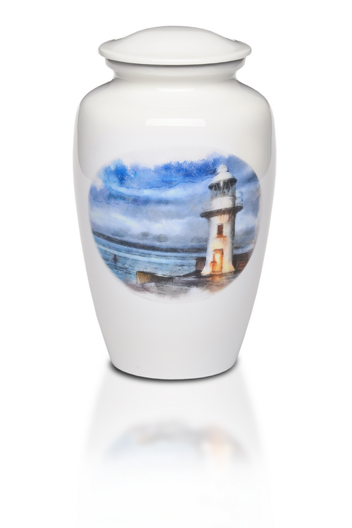 Alloy in White with Lighthouse Design Adult 220 cu in Cremation Urn-Cremation Urns-Bogati-Afterlife Essentials