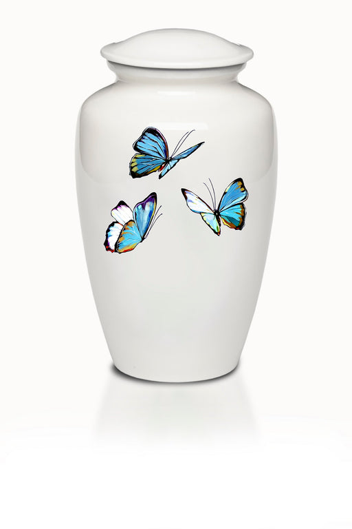 Affordable Alloy Cremation Urn in White with Blue Butterflies Design-Cremation Urns-Bogati-Afterlife Essentials