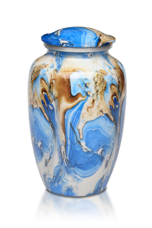 Alloy in White, Blue and Brown Swirl Pattern Adult 220 cu in Cremation Urn-Cremation Urns-Bogati-Afterlife Essentials