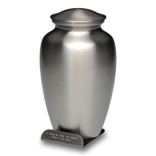 Classic Brass in Pewter Finish with Engraved Base Adult 200 cu in Cremation Urn-Cremation Urns-Bogati-Afterlife Essentials