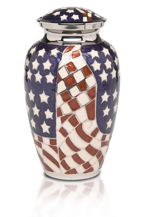 Patriotic Red, White & Blue American Flag Adult 200 cu in Cremation Urn-Cremation Urns-Bogati-Afterlife Essentials