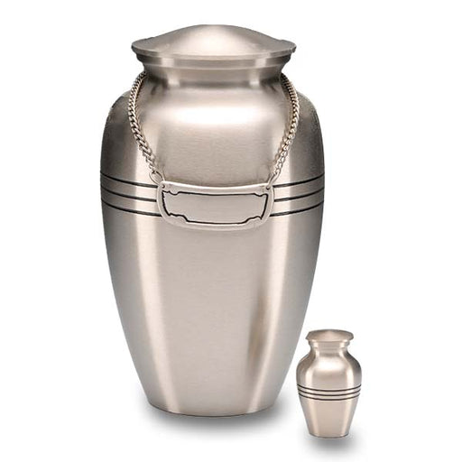 Brushed Pewter with Three Rings Adult 200 cu in Cremation Urn-Cremation Urns-Bogati-Afterlife Essentials
