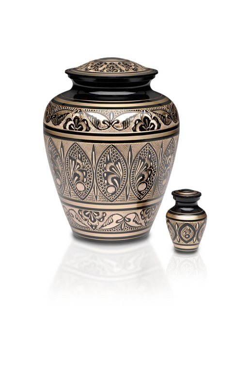 Black & Golden Brass Hand Etched Adult 200 cu in Cremation Urn-Cremation Urns-Bogati-Afterlife Essentials