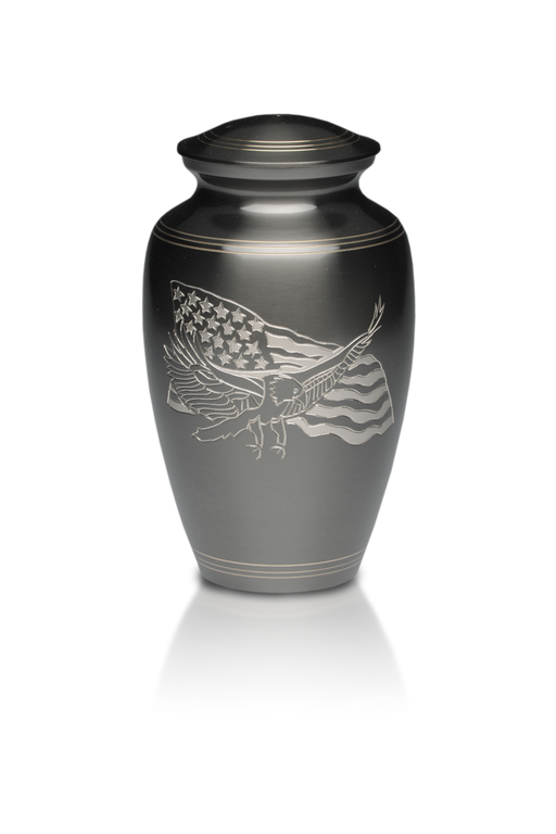 American Eagle and Flag Brass Adult 200 cu in Cremation Urn-Cremation Urns-Bogati-Afterlife Essentials