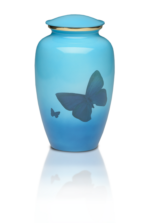 Classic Brass in Blue with Butterflies Adult 200 cu in Cremation Urn-Cremation Urns-Bogati-Afterlife Essentials