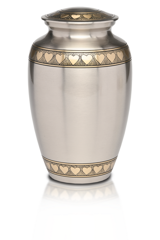 Brass in Brushed Pewter Finish with Golden Brass Hearts Adult 200 cu in Cremation Urn-Cremation Urns-Bogati-Afterlife Essentials