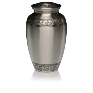 Brushed Pewter with Hand-Engraved Design Adult 200 cu in Cremation Urn-Cremation Urns-Bogati-Afterlife Essentials