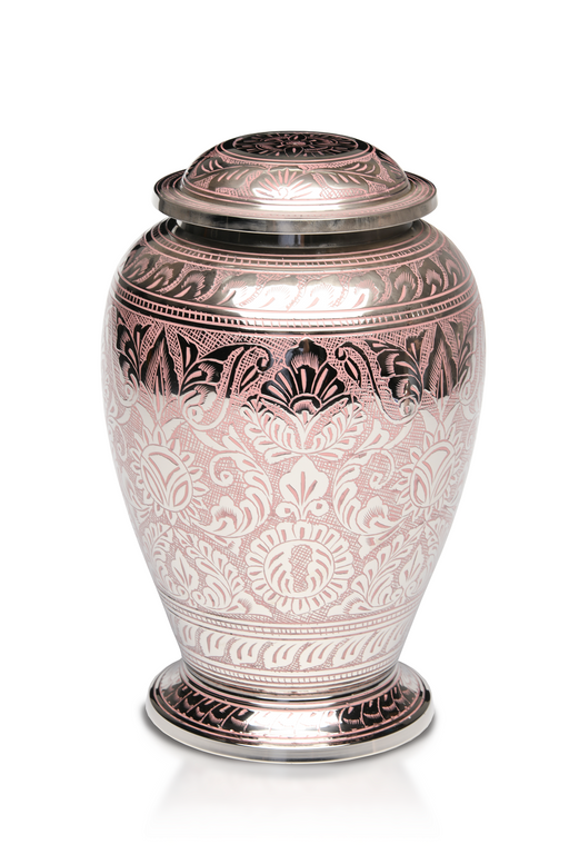 Brass with Nickel Overlay and Pink Pattern Adult 200 cu in Cremation Urn-Cremation Urns-Bogati-Afterlife Essentials