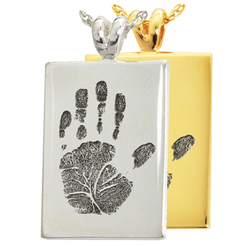 B&B Rectangle Handprint Cremation Jewelry-Jewelry-New Memorials-Afterlife Essentials