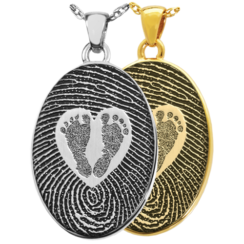 Oval Fingerprint & Babyfeet within Heart Cremation Jewelry-Jewelry-New Memorials-Afterlife Essentials