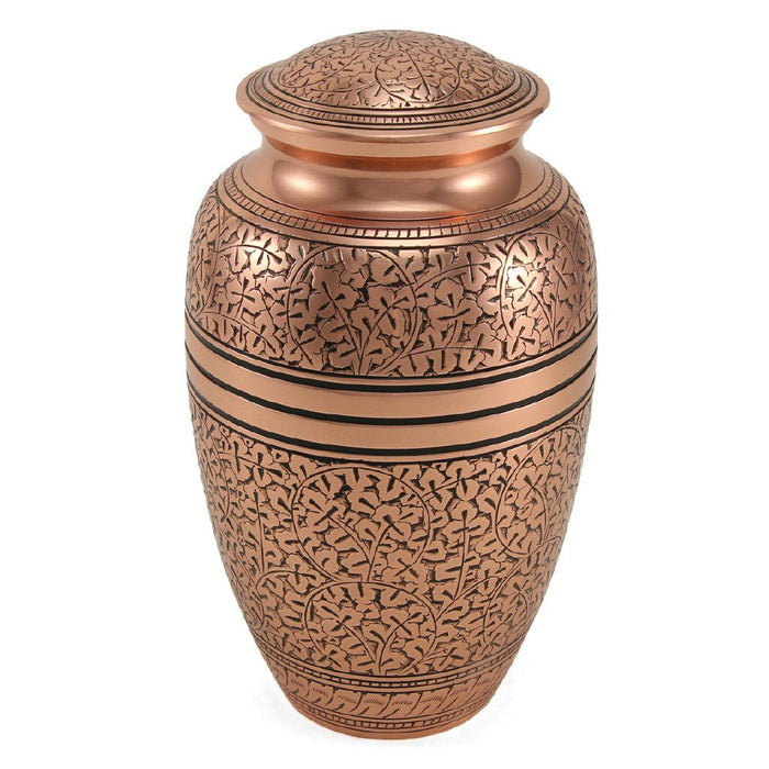 Classic Engraved Copper Oak Large/Adult Cremation Urn-Cremation Urns-Terrybear-Afterlife Essentials