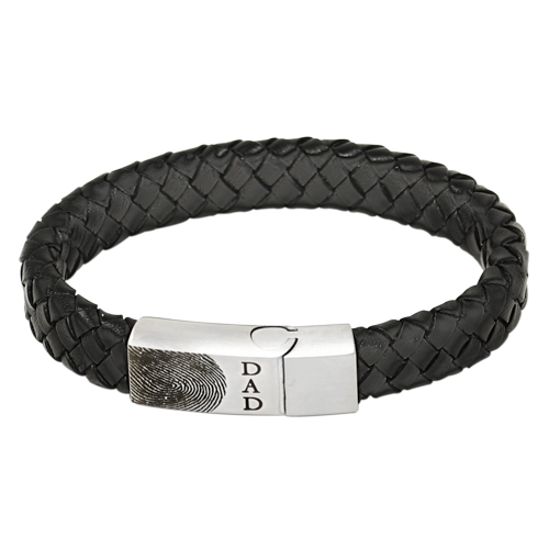 Men's Personalized Keepsake: Leather and Stainless Steel Bracelet-Accessories-New Memorials-7.5 inches-Afterlife Essentials