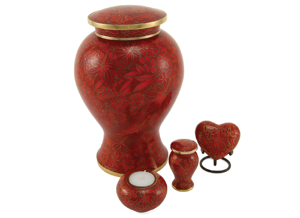 Etienne Autumn Leaves Heart Keepsake with velvet box Cremation Urn-Cremation Urns-Terrybear-Afterlife Essentials
