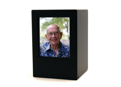 Black Large/Adult Photo Cremation Urn-Cremation Urns-Terrybear-Afterlife Essentials