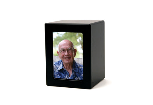 Black Petite/Keepsake Photo Cremation Urn-Cremation Urns-Terrybear-Afterlife Essentials