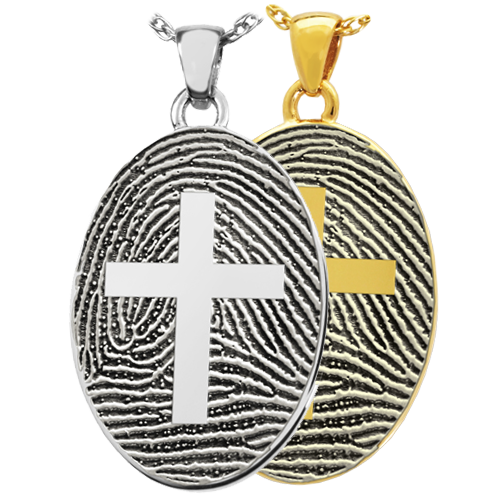 Oval Fingerprint with Cross Cremation Jewelry-Jewelry-New Memorials-Afterlife Essentials