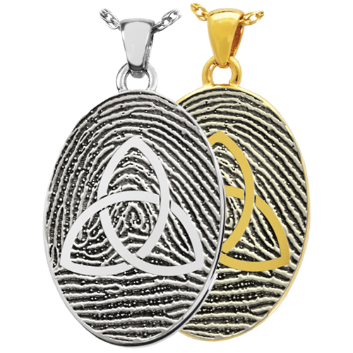 Oval Fingerprint with Celtic Trinity Knot Cremation Jewelry-Jewelry-New Memorials-Afterlife Essentials