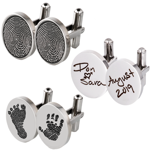 Sterling Silver Cuff Links Fingerprint Memorial Jewelry-Jewelry-New Memorials-Afterlife Essentials