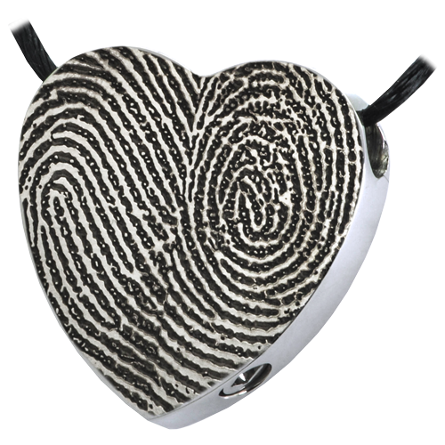 Afterlife Essentials Heart Double Print Jewelry-Jewelry-New Memorials-Stainless Steel-No Chamber (Flat)-Free Black Satin Cord-Afterlife Essentials