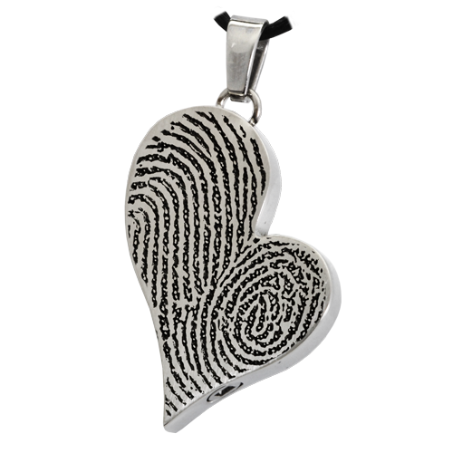Teardrop Heart Double Fingerprint Pendant Cremation Jewelry-Jewelry-New Memorials-Stainless Steel-Single Chamber-Afterlife Essentials