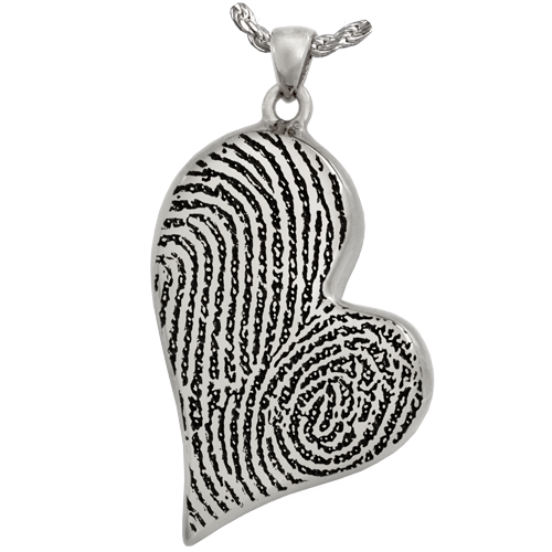 Teardrop Heart Double Fingerprint Pendant Cremation Jewelry-Jewelry-New Memorials-925 Sterling Silver-Single Chamber-Afterlife Essentials
