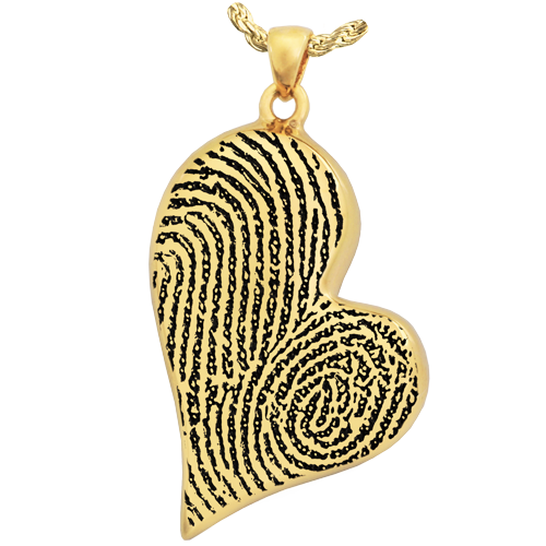 Teardrop Heart Double Fingerprint Pendant Cremation Jewelry-Jewelry-New Memorials-14K Solid Yellow Gold (allow 4-5 weeks)-Single Chamber-Afterlife Essentials