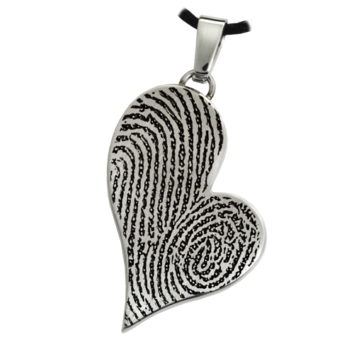 Teardrop Heart Double Fingerprint Pendant Cremation Jewelry-Jewelry-New Memorials-Stainless Steel-No Chamber (flat)-Afterlife Essentials