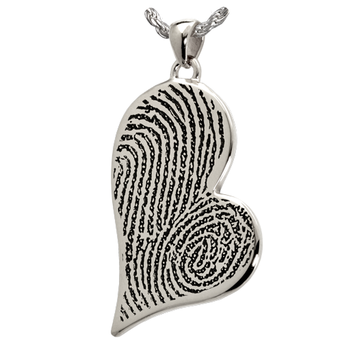 Teardrop Heart Double Fingerprint Pendant Cremation Jewelry-Jewelry-New Memorials-925 Sterling Silver-No Chamber (flat)-Afterlife Essentials