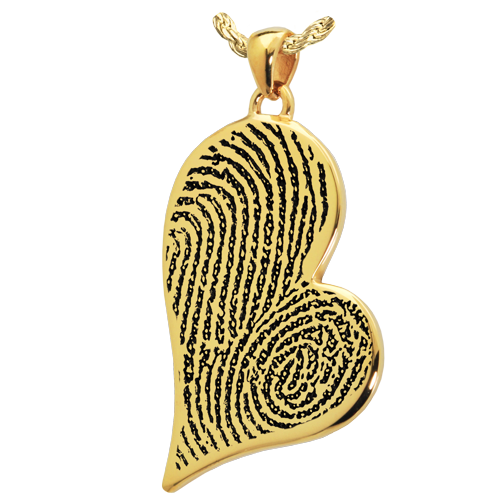 Teardrop Heart Double Fingerprint Pendant Cremation Jewelry-Jewelry-New Memorials-14K Solid Yellow Gold (allow 4-5 weeks)-No Chamber (flat)-Afterlife Essentials