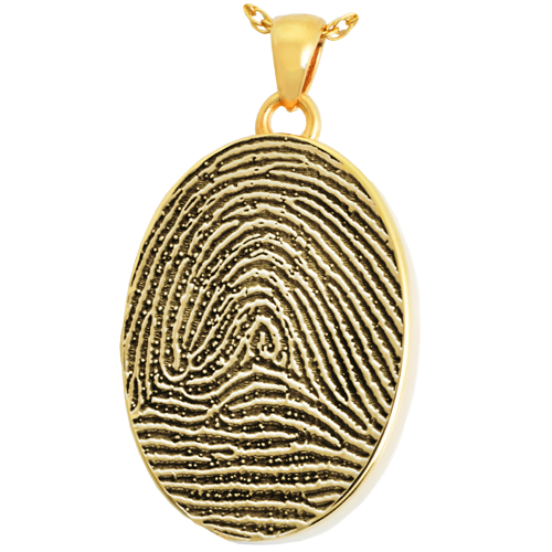 Oval Fingerprint Pendant Cremation Jewelry-Jewelry-New Memorials-14K Solid Yellow Gold (allow 4-5 weeks)-Full-Coverage-Chamber (for ashes)-Afterlife Essentials