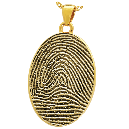 Oval Fingerprint Pendant Cremation Jewelry-Jewelry-New Memorials-14K Solid Yellow Gold (allow 4-5 weeks)-Full-Coverage-No Chamber (flat)-Afterlife Essentials