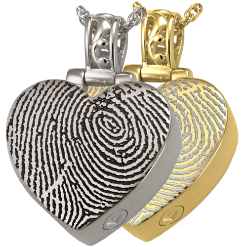 Heart Filigree Bail Fingerprint Pendant Cremation Jewelry-Jewelry-New Memorials-Afterlife Essentials