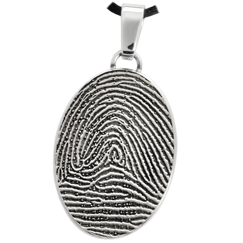 Oval Fingerprint Pendant Cremation Jewelry-Jewelry-New Memorials-Stainless Steel-Full-Coverage-No Chamber (flat)-Afterlife Essentials