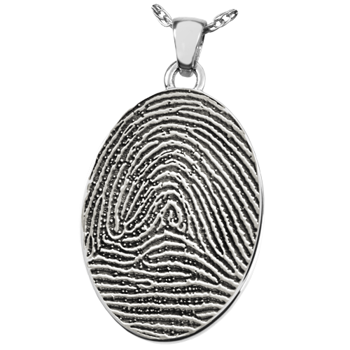 Oval Fingerprint Pendant Cremation Jewelry-Jewelry-New Memorials-925 Sterling Silver-Full-Coverage-No Chamber (flat)-Afterlife Essentials