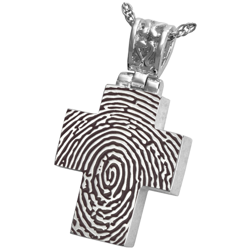Cross With Filigree Bail Fingerprint Cremation Jewelry-Jewelry-New Memorials-Afterlife Essentials