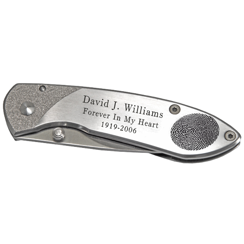 Pocket Knife Stainless Steel Fingerprint and/or Signature-Accessories-New Memorials-Afterlife Essentials