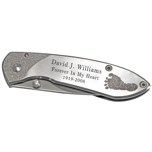 Pocket Knife Stainless Steel Footprint and/or Signature-Knife-New Memorials-Afterlife Essentials