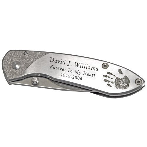 Pocket Knife Stainless Steel Handprint and/or Signature-Accessories-New Memorials-Afterlife Essentials