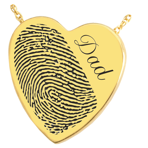 Heart Halfprint + Name Jewelry Pendant Cremation Jewelry-Jewelry-New Memorials-14K Solid Yellow Gold (allow 4-5 weeks)-No Chamber (flat)-Afterlife Essentials