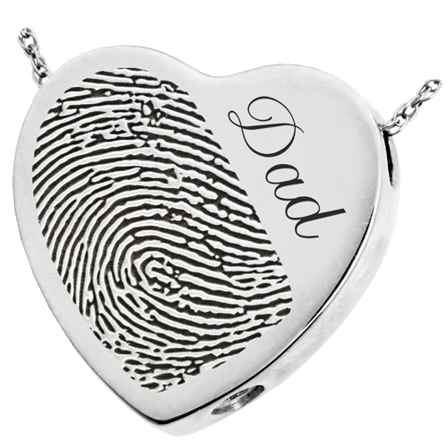 Heart Halfprint + Name Jewelry Pendant Cremation Jewelry-Jewelry-New Memorials-925 Sterling Silver-Chamber (for ashes)-Afterlife Essentials