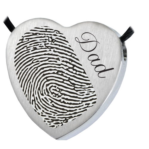 Heart Halfprint + Name Jewelry Pendant Cremation Jewelry-Jewelry-New Memorials-Stainless Steel-No Chamber (flat)-Afterlife Essentials