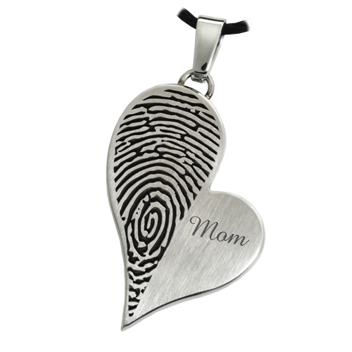 Teardrop Heart Halfprint With Name Jewelry-Jewelry-New Memorials-Stainless Steel-No Chamber (flat)-Afterlife Essentials
