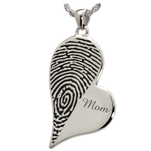 Teardrop Heart Halfprint With Name Jewelry-Jewelry-New Memorials-925 Sterling Silver-No Chamber (flat)-Afterlife Essentials