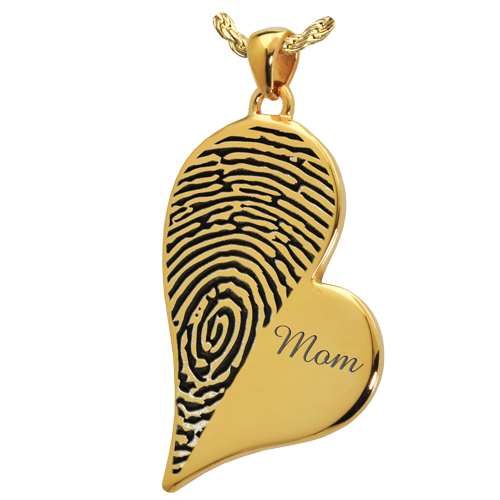 Teardrop Heart Halfprint With Name Jewelry-Jewelry-New Memorials-14K Solid Yellow Gold (allow 4-5 weeks)-No Chamber (flat)-Afterlife Essentials